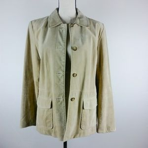 Ann Taylor Loft Suede Leather Jacket Buff Soft